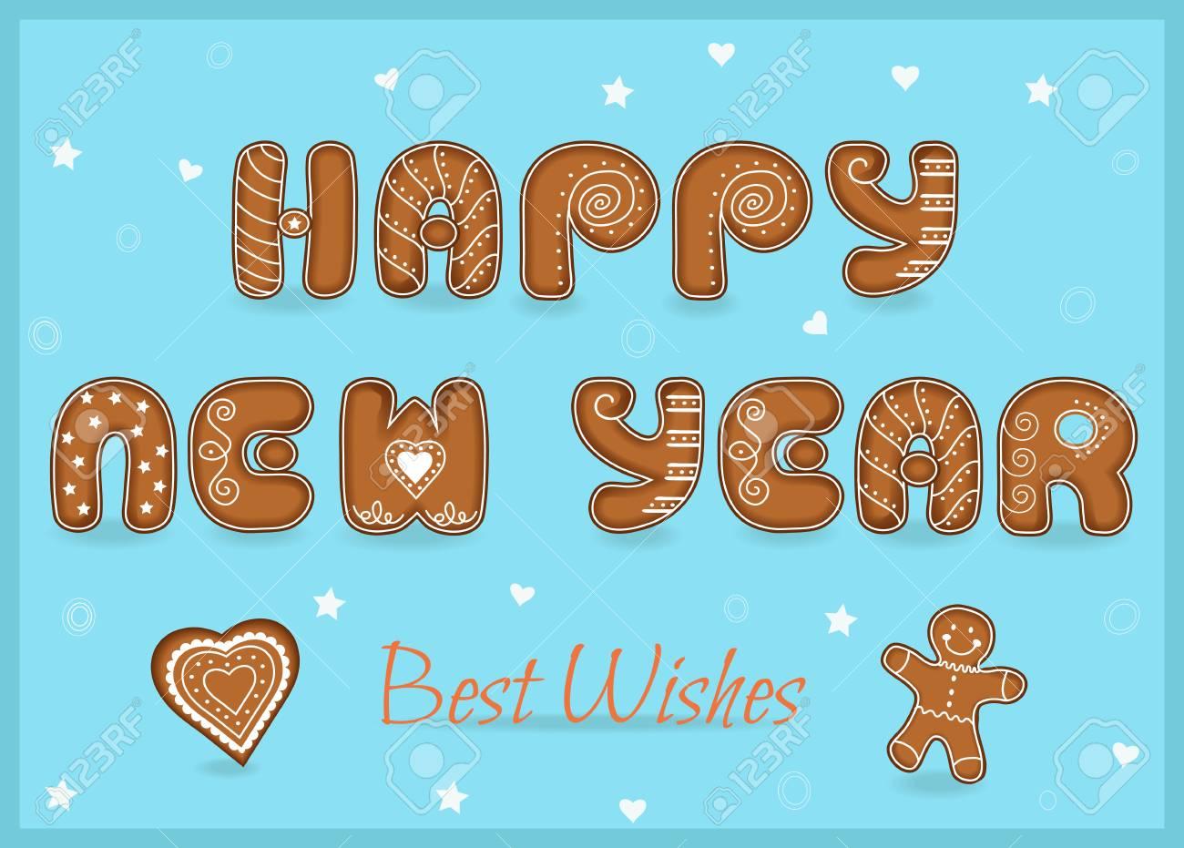 Festliche Inschrift Mit Lebkuchen Buchstaben. Frohes Neues Jahr. Die ...