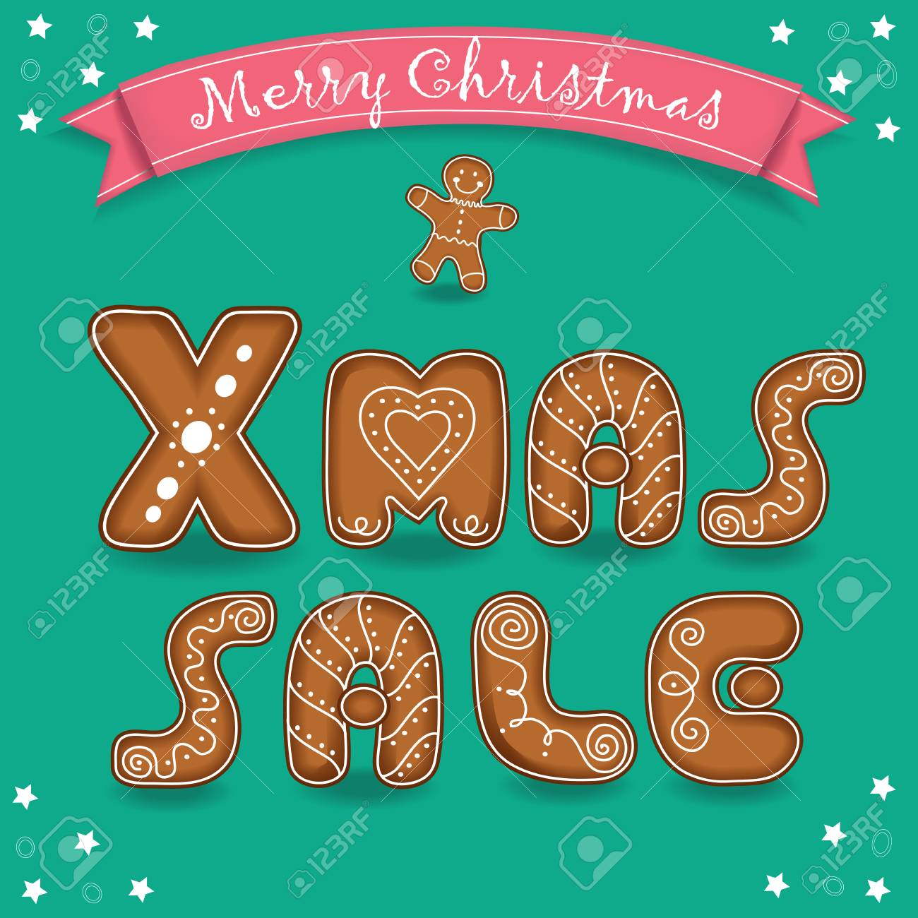 Xmas Sale Merry Christmas Cookies Font Green Background With