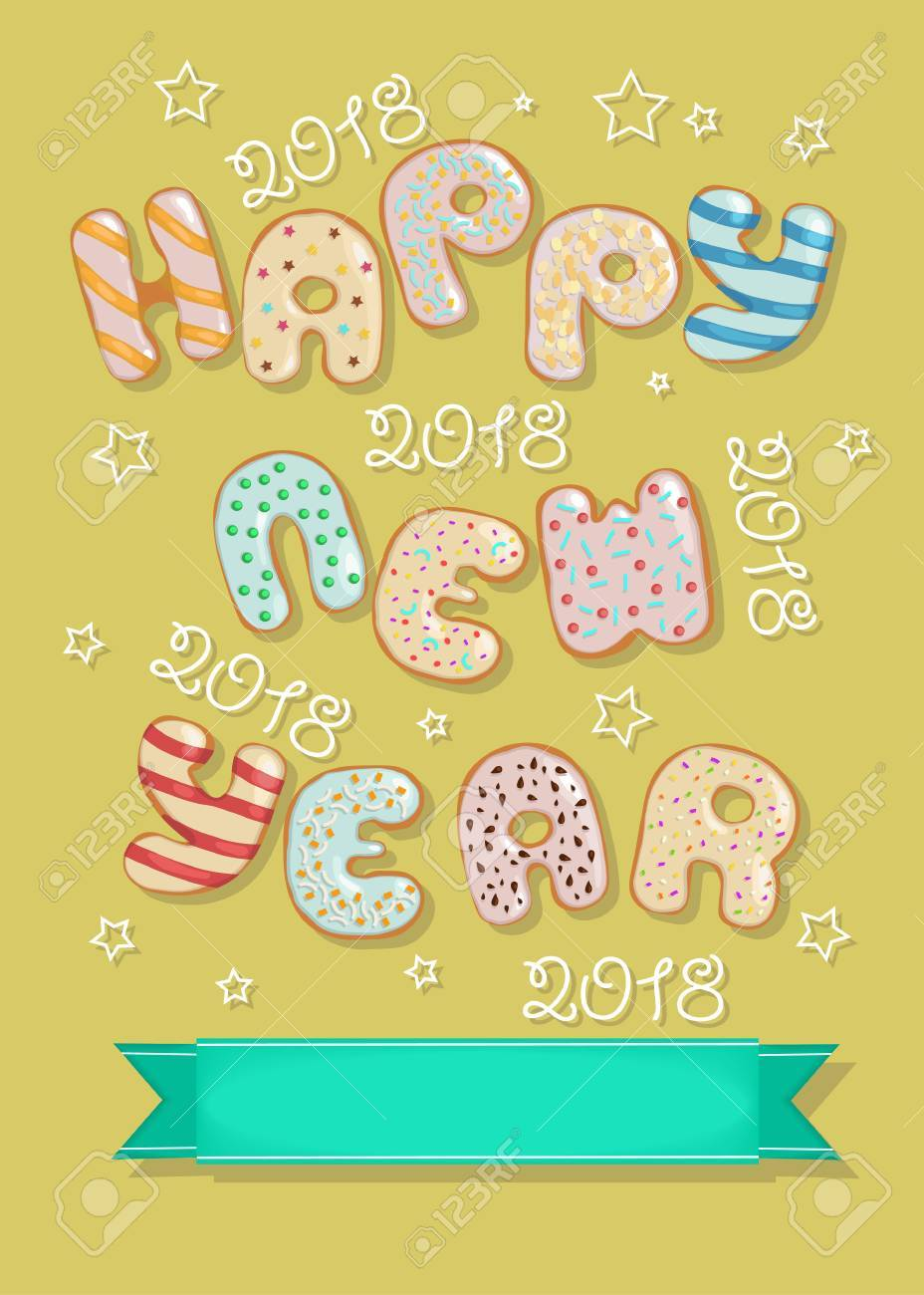 happy new year 2018 sweet donuts and green banner for custom text artistic