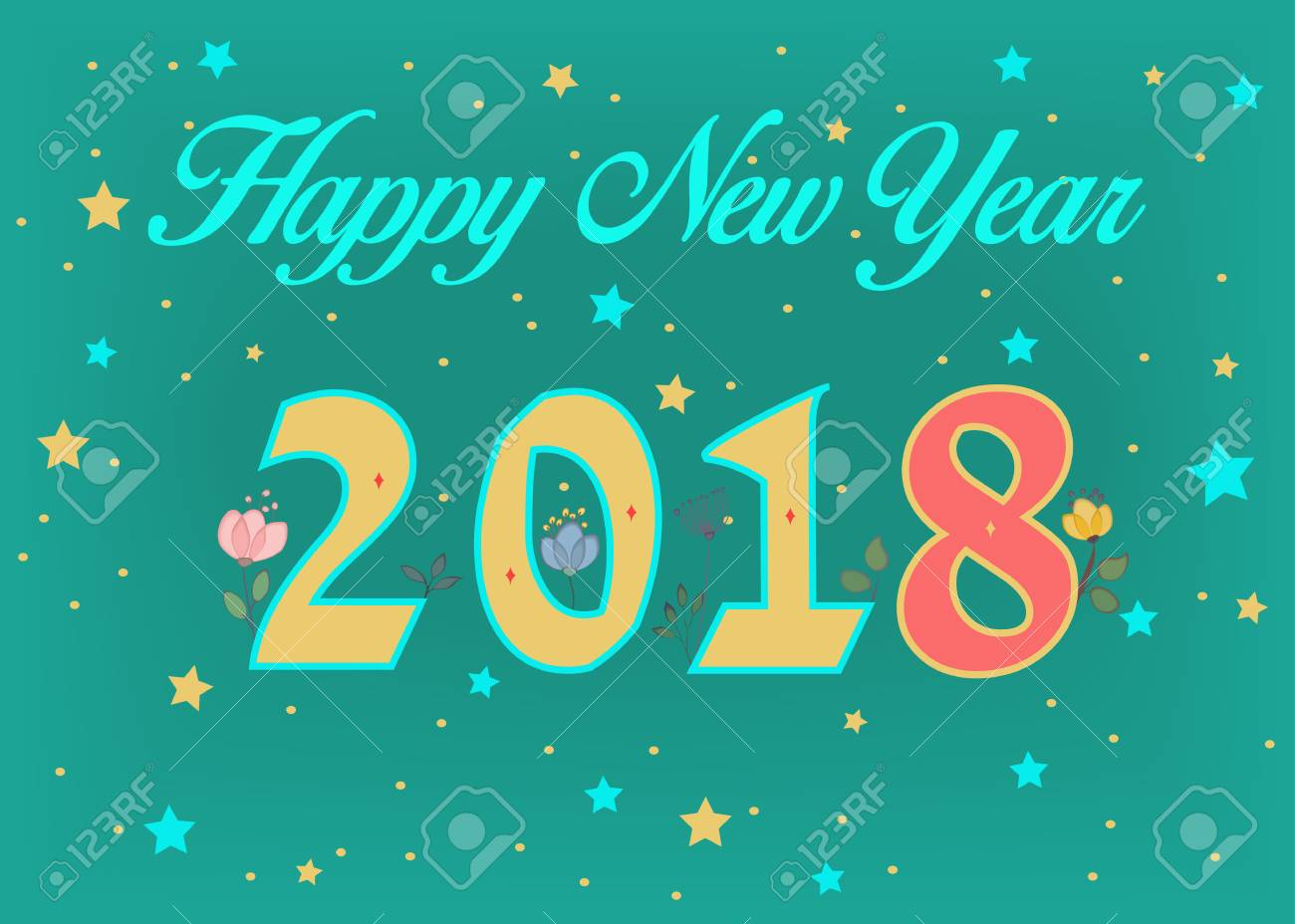 happy new year 2018 floral number blue text green background colorful stars