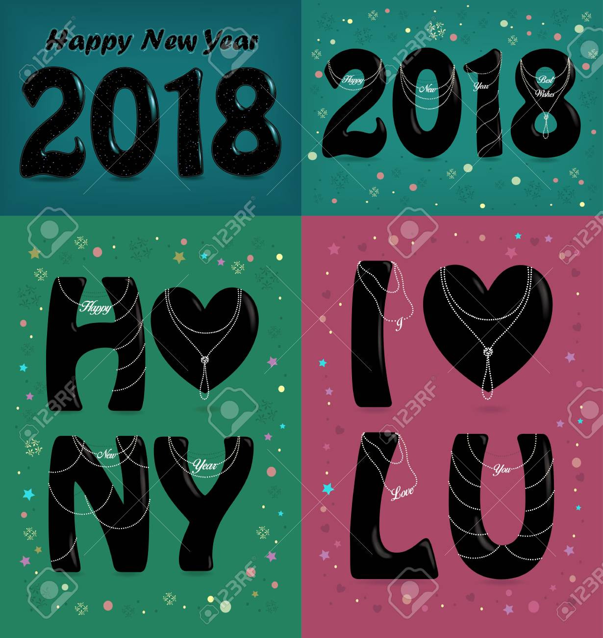 happy new year 2018 i love you four retro cards with black abbreviation by