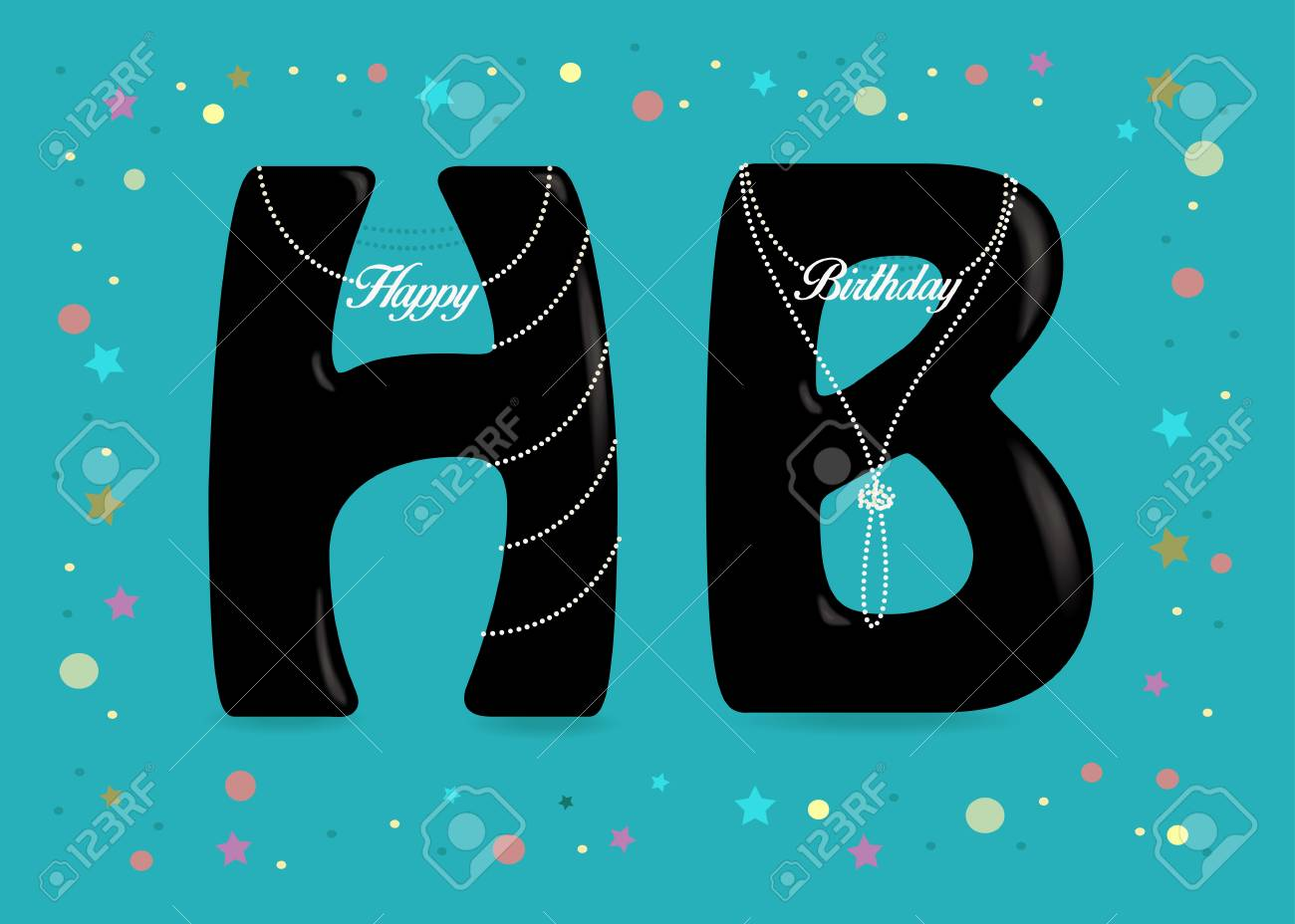 happy birthday black letters h and b white pearl necklaces with texts as