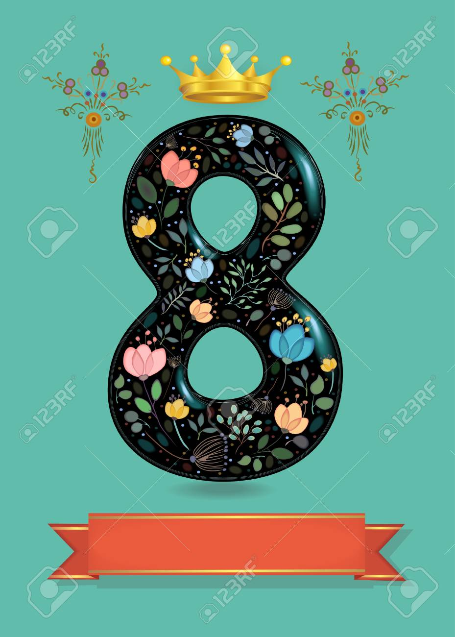 Greeting Card For Anniversary Black Sparkling Number Eight With