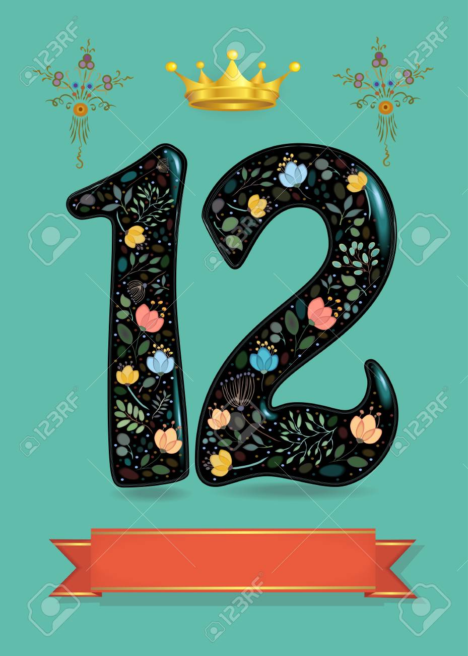 Greeting Card For Anniversary Black Sparkling Number Twelve With
