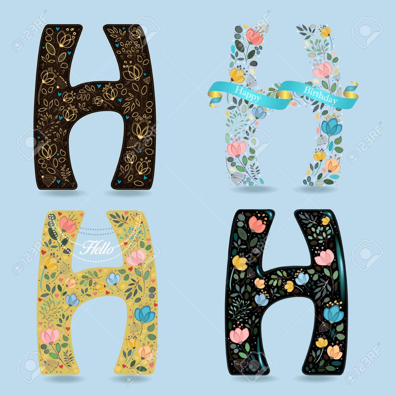 floral letters h graceful flowers and plants with watercolor and drawing effects brown