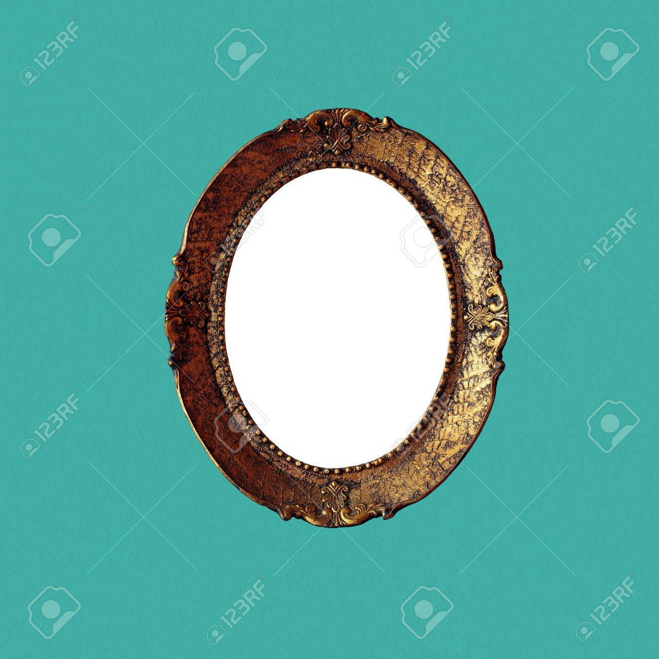 Antique art frame on green wall, with content cutout and without shadows. Included paths for cutting. Stock Photo - 8922436