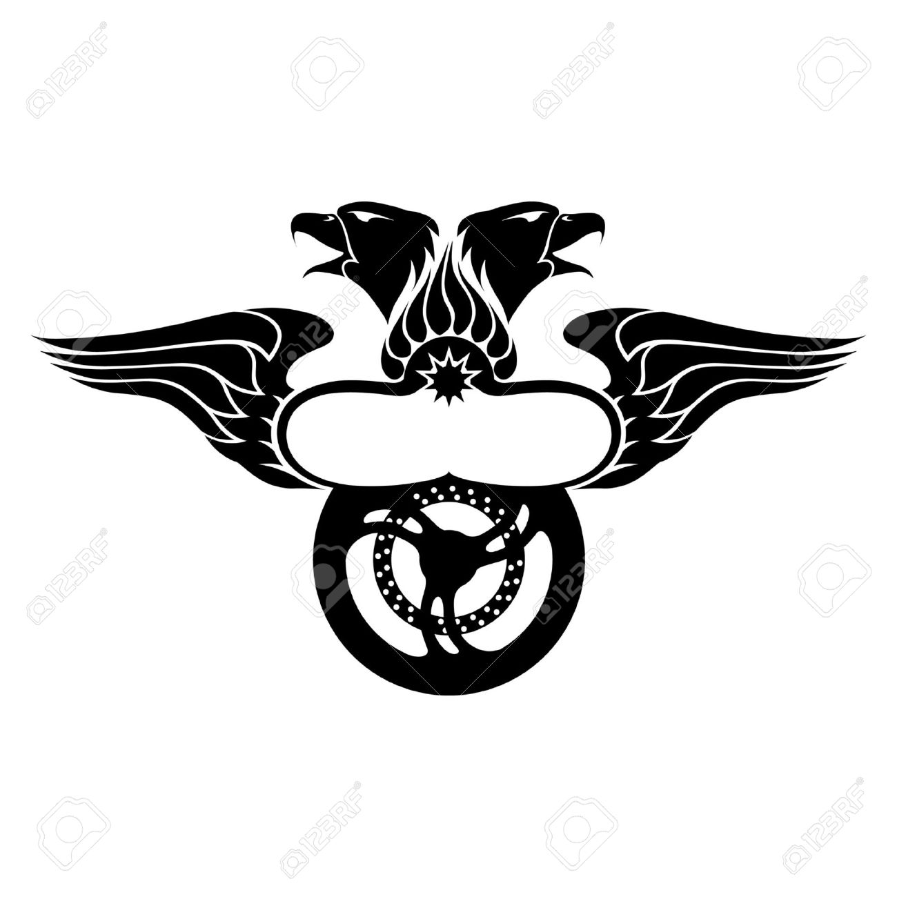 Emblem with wing eagles fire and motorbike wheel royalty free emblem with wing eagles fire and motorbike wheel stock vector 9084319 biocorpaavc Gallery