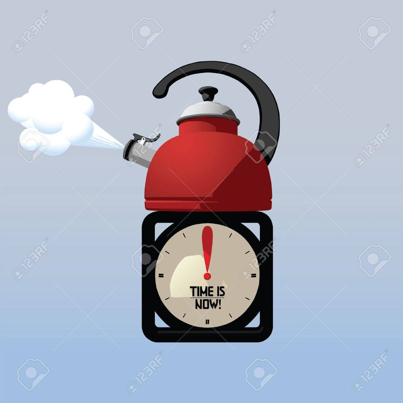 Teapot and Desktop Clock Making Attention to Time for Tea Stock Vector - 9347833