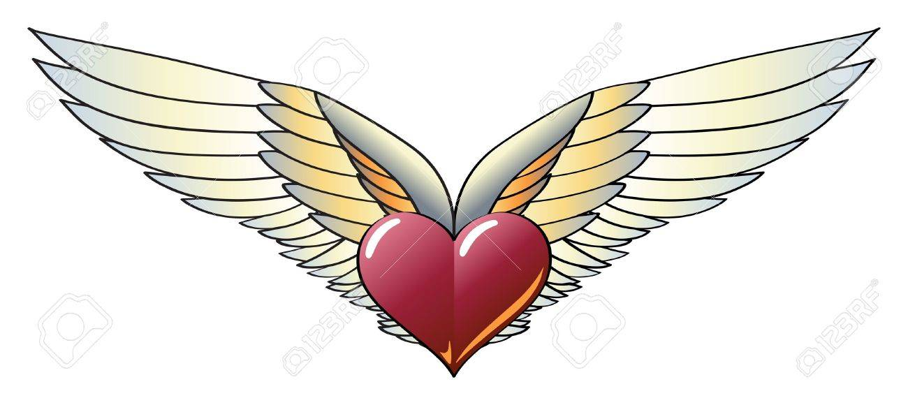 Winged Heart with Wide, Vivid and Colorful Wings Stock Vector - 9583145