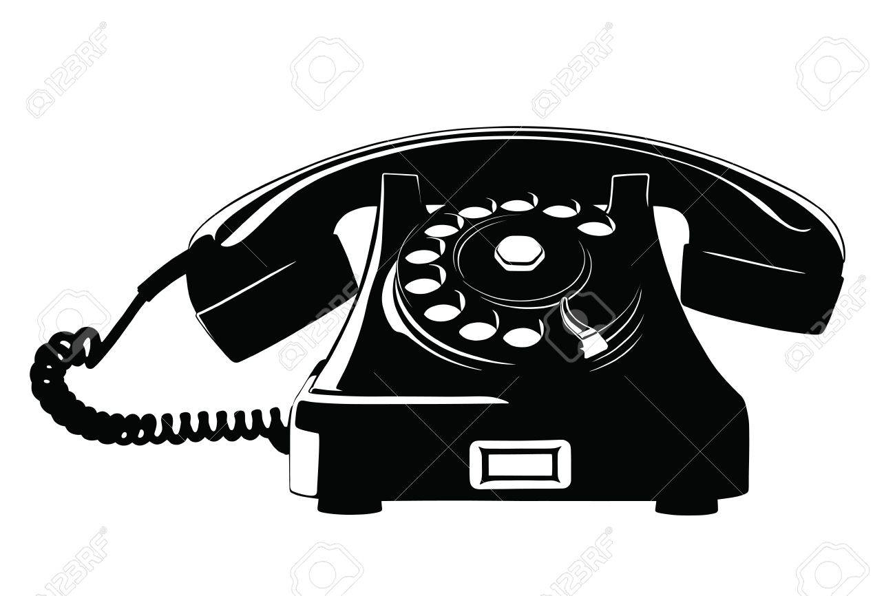 Old Style Analog Phone Stencil With Loose Curly Cord Stock Vector - 12183652