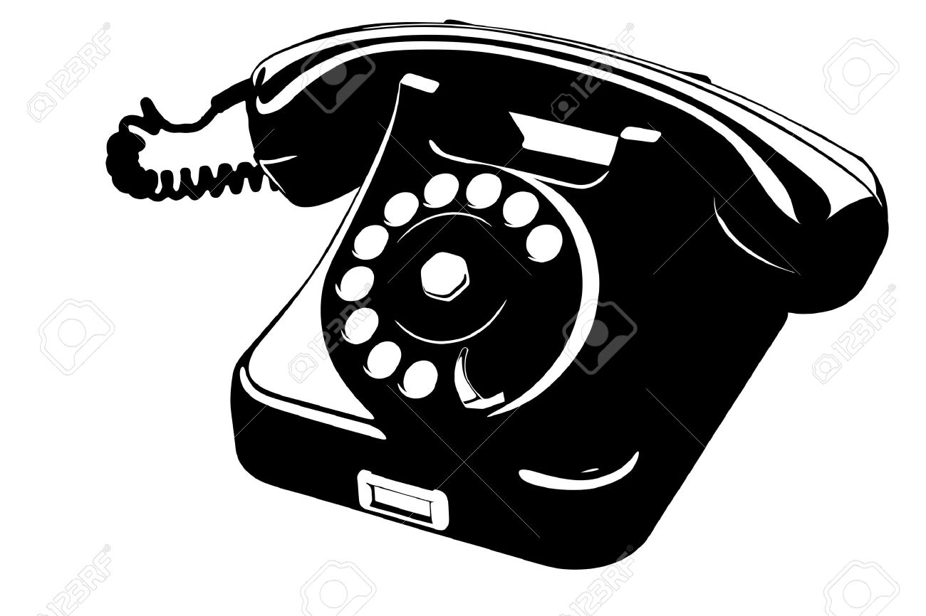 old style analog phone stencil with loose curly cord royalty free Bluetooth Retro Phone old style analog phone stencil with loose curly cord stock vector 12183667