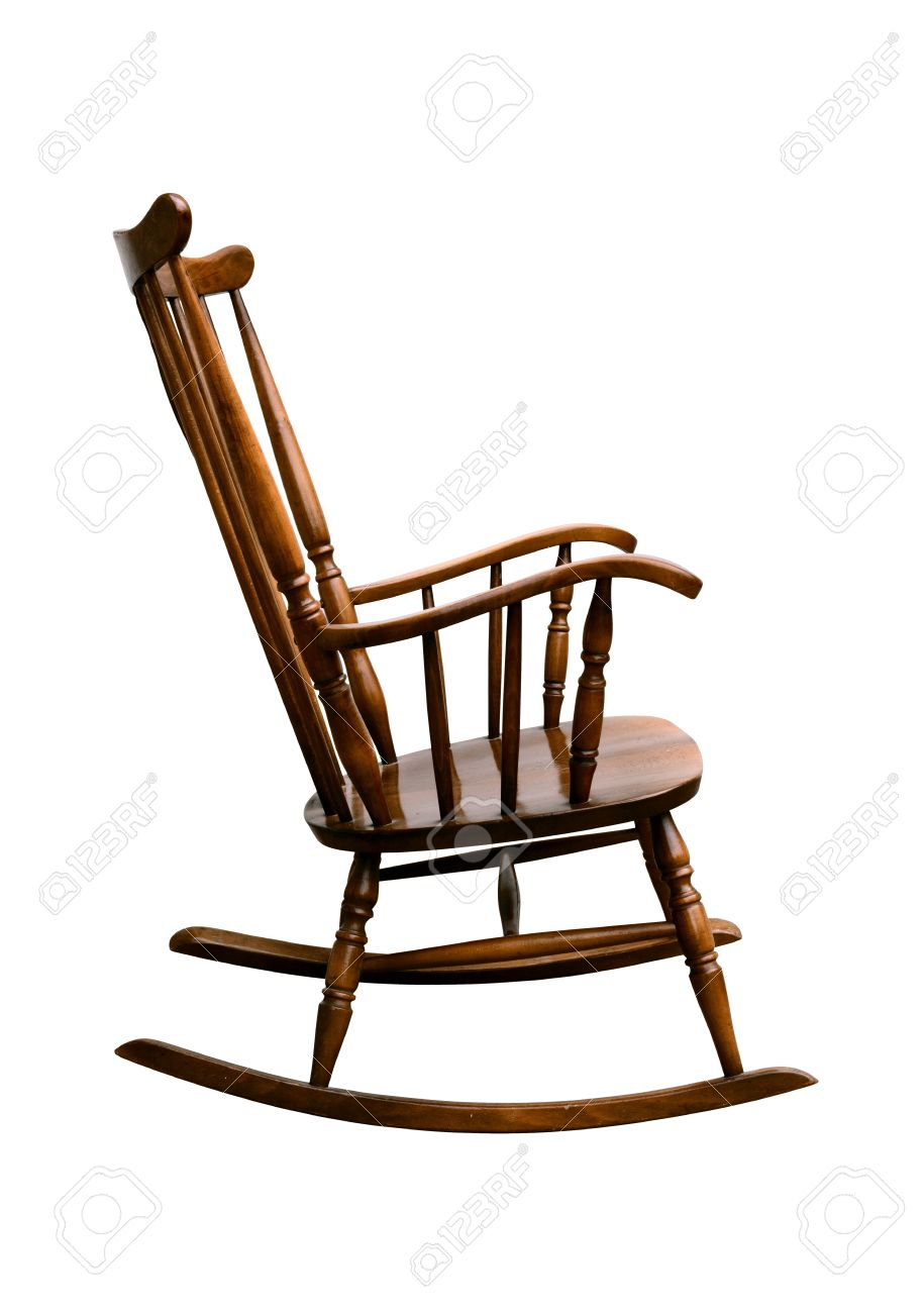 Stock Photo   Vintage Damaged Rocking Chair   Right Side