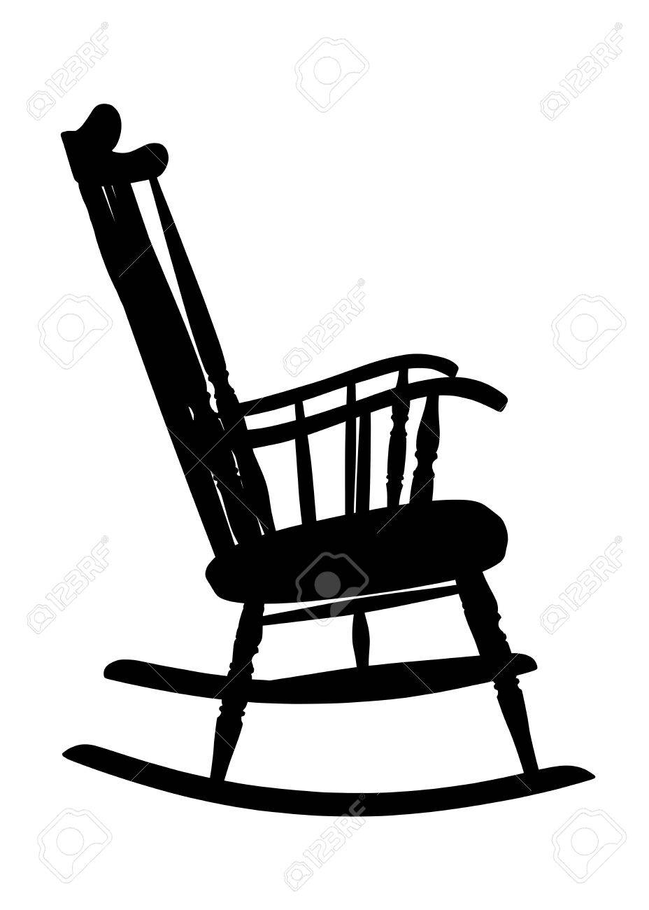 Rocking Chair Clipart vintage rocking chair stencil - right side royalty free cliparts