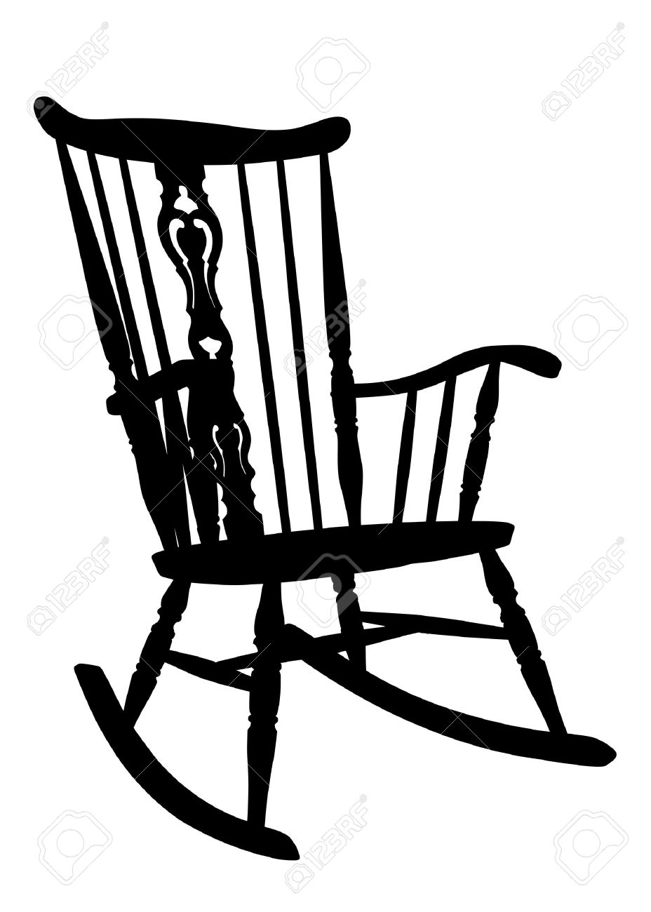 vintage rocking chair stencil right side tilted royalty free