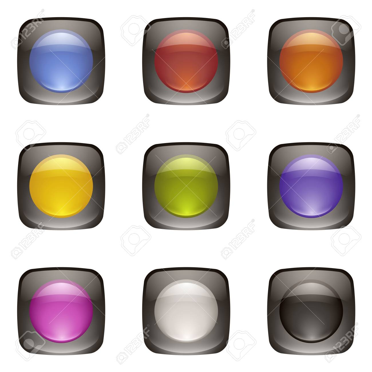 Double Layer Button - collection four Stock Vector - 17947084