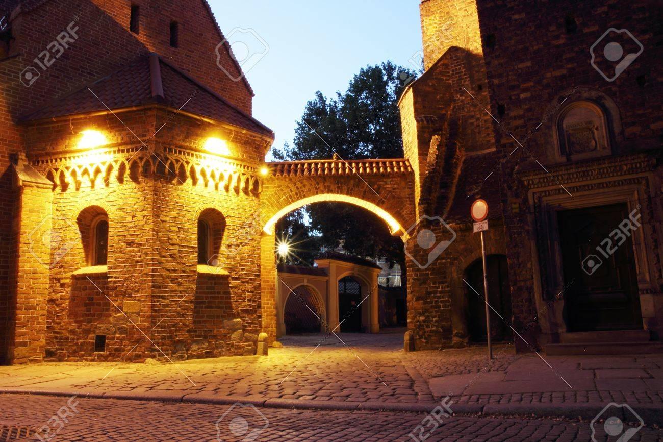 Dumpling Gate at night, Cathedral Island (Ostrow Tumski), Wroclaw, Poland Stock Photo - 15554937