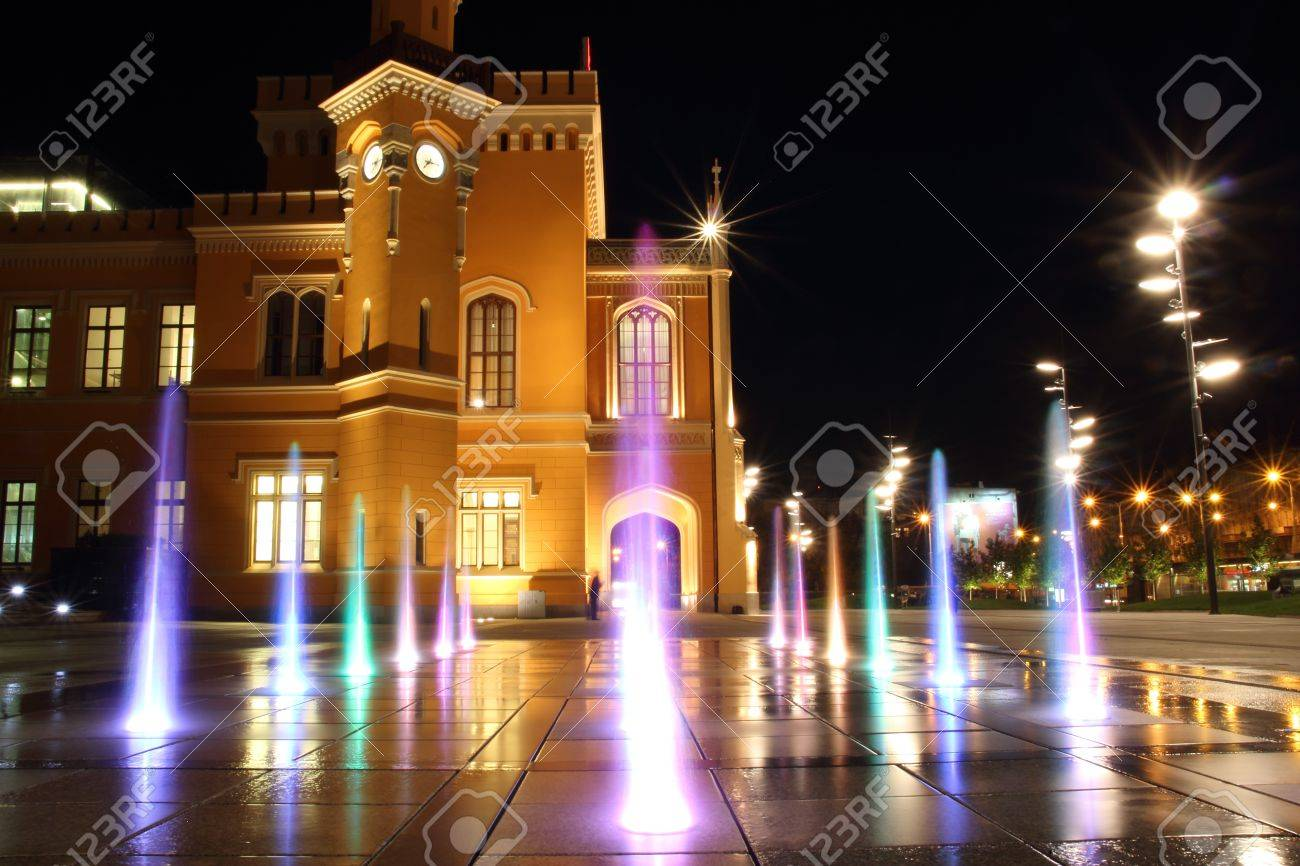 Main Railway Station in Wroclaw at night, Poland Stock Photo - 15855328