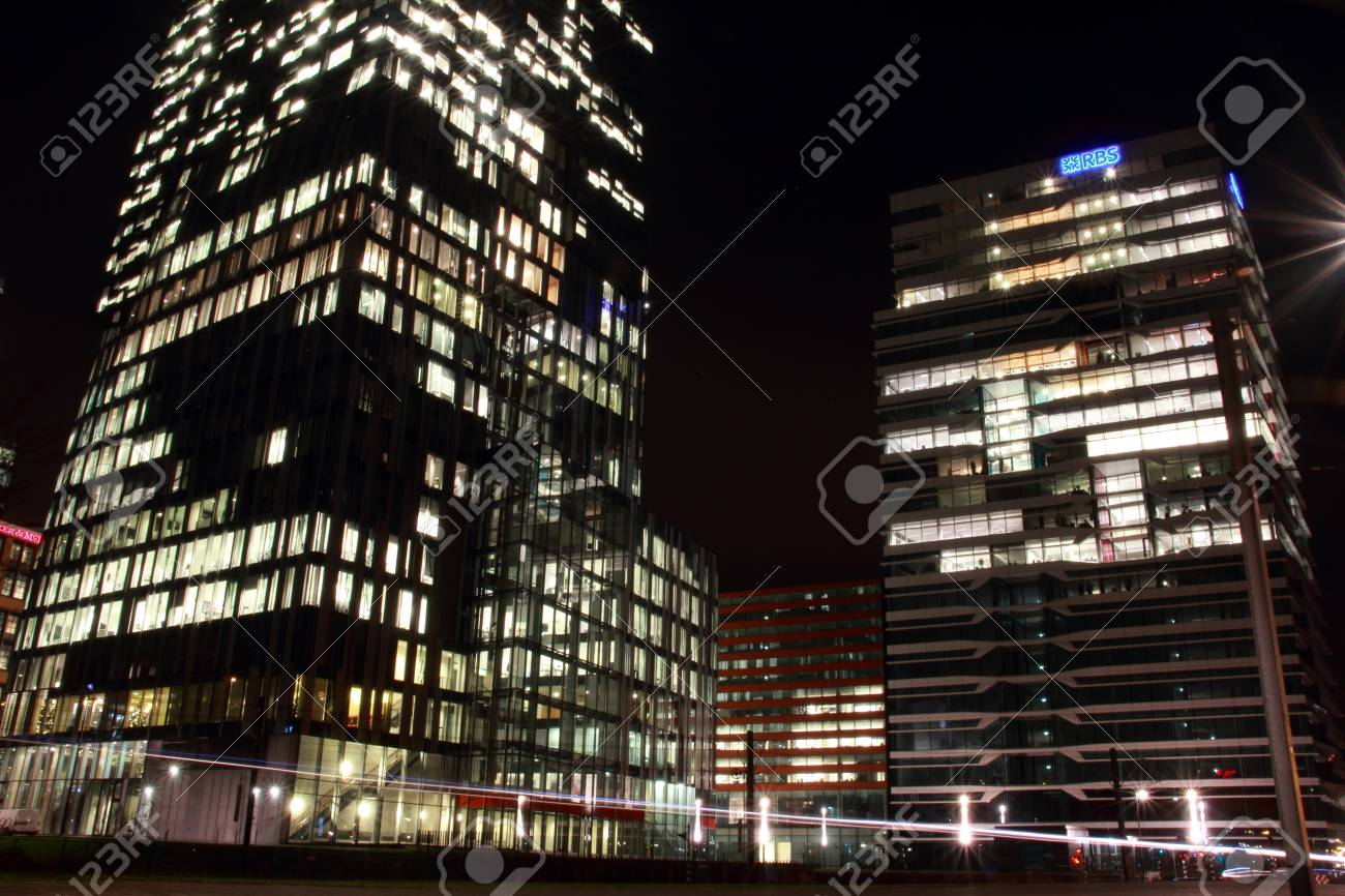 office buildings in Amsterdam at night, the Netherlands Stock Photo - 17228658