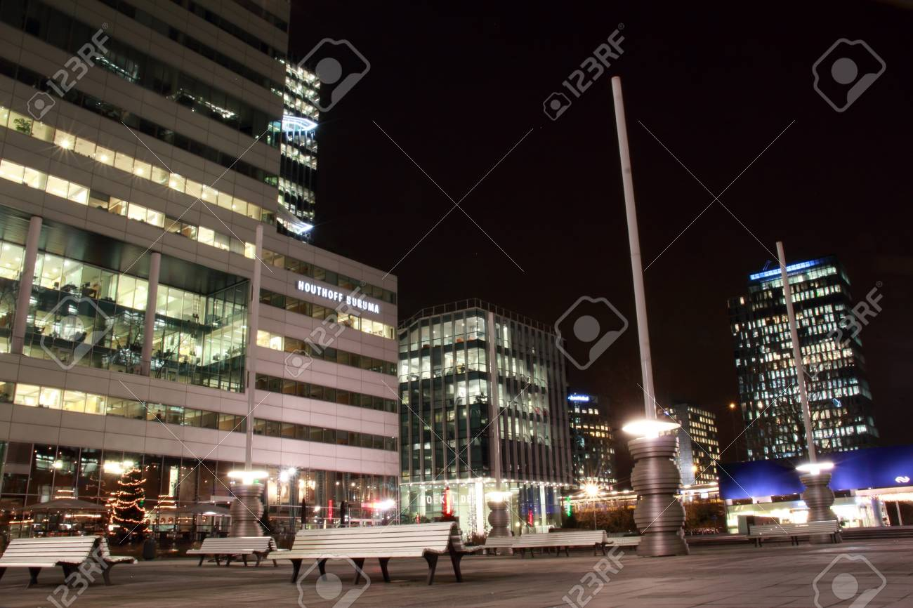 office buildings in Amsterdam at night, the Netherlands Stock Photo - 17228657