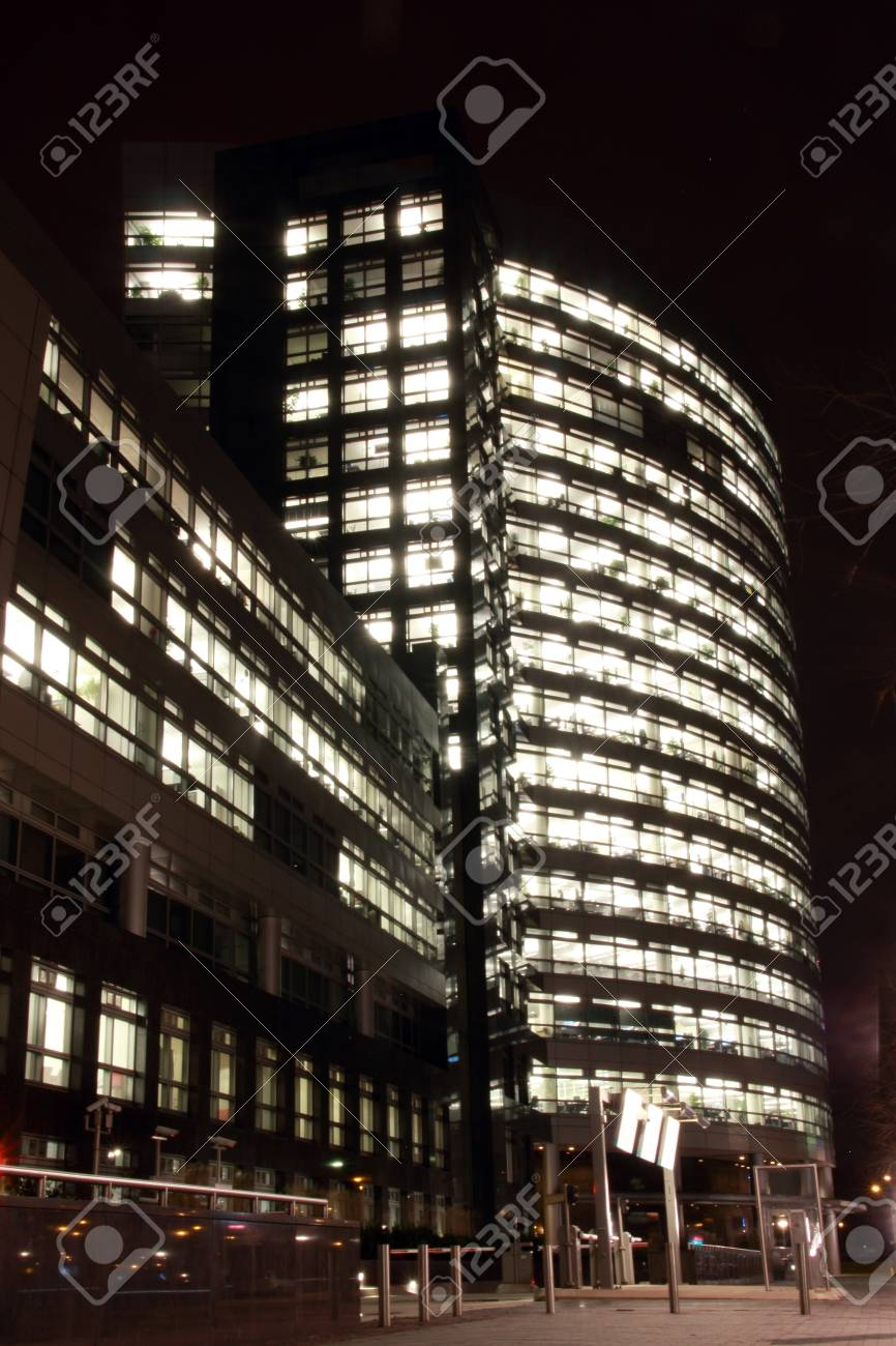 office buildings in Amsterdam at night, the Netherlands Stock Photo - 17228656