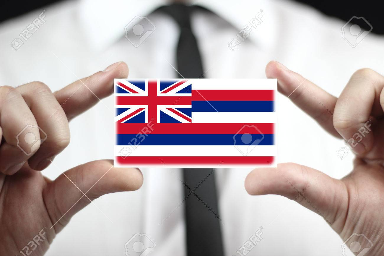 Businessman Holding A Business Card With Hawaii Flag Stock Photo ...