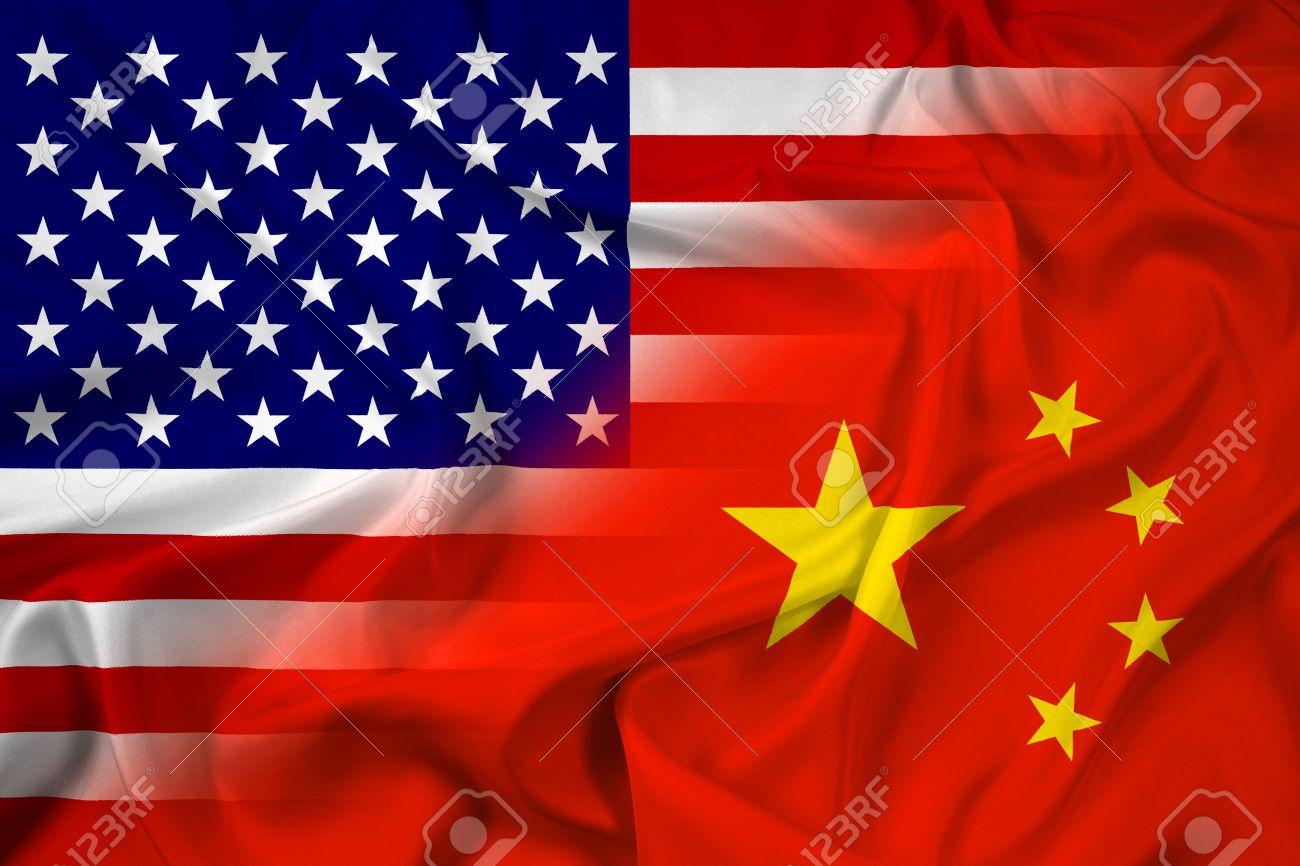 Waving China and USA Flag - 31960137