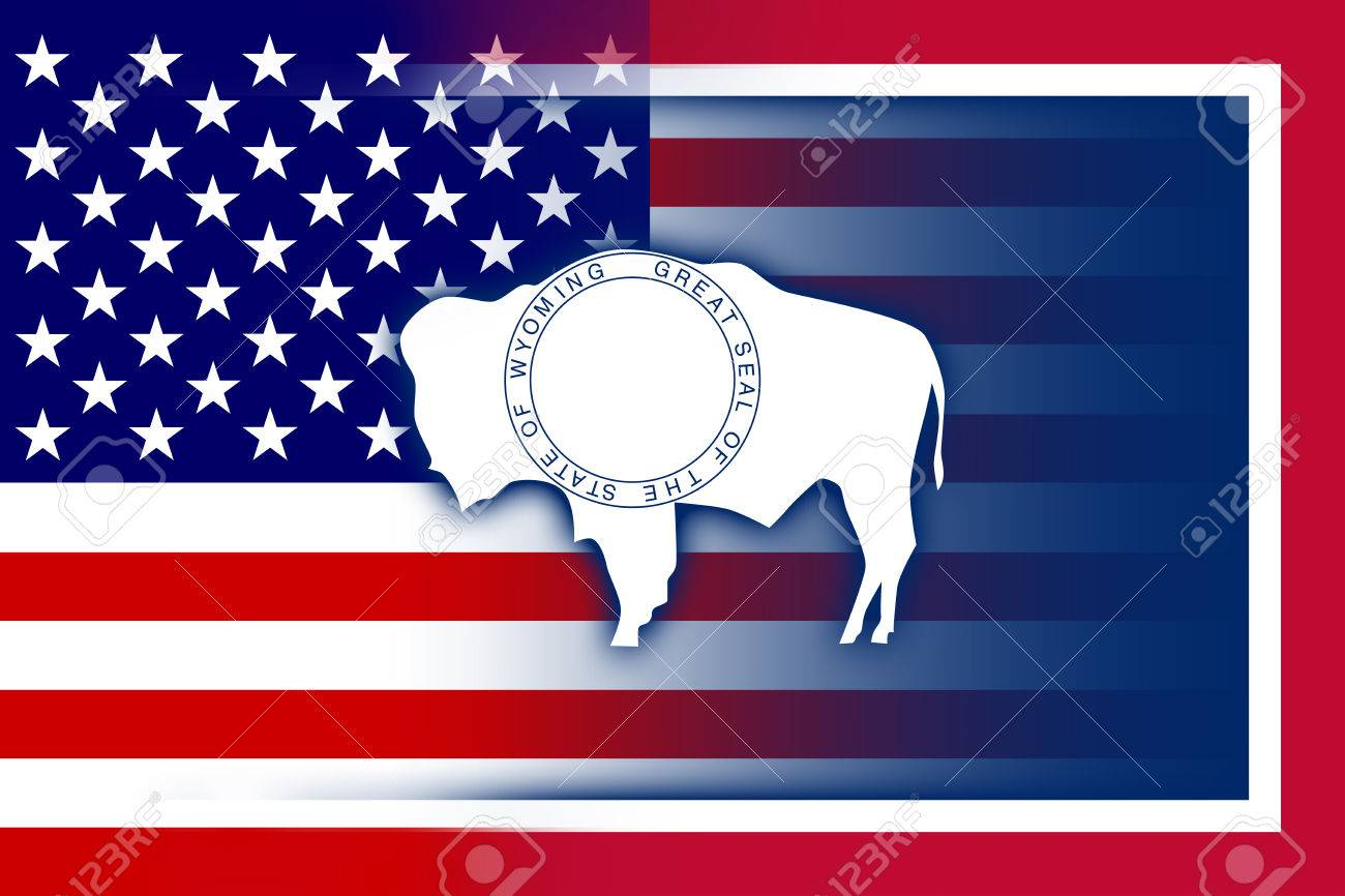 Usa And Wyoming State Flag Stock Photo Picture And Royalty Free