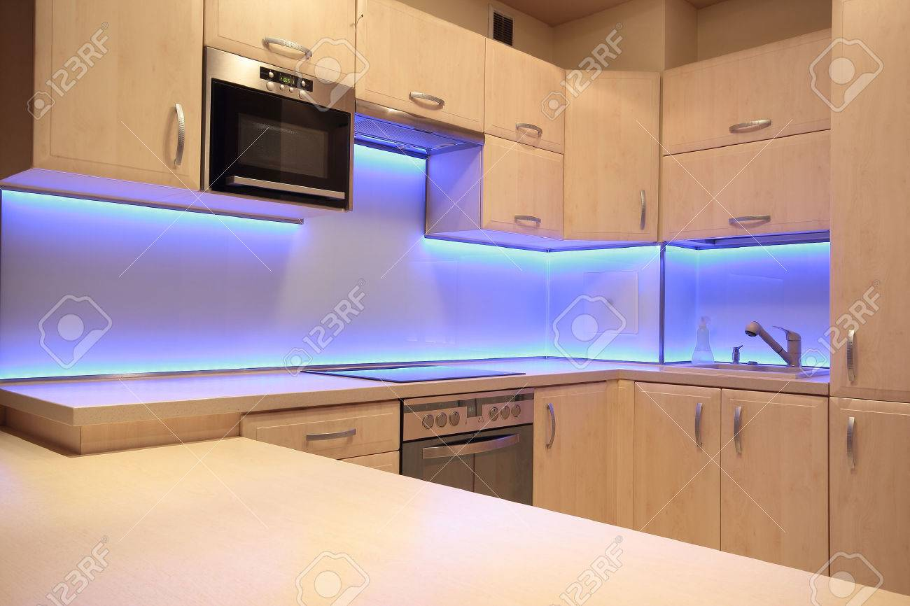 Modern Luxury Kitchen With Purple Led Lighting Stock Photo Picture