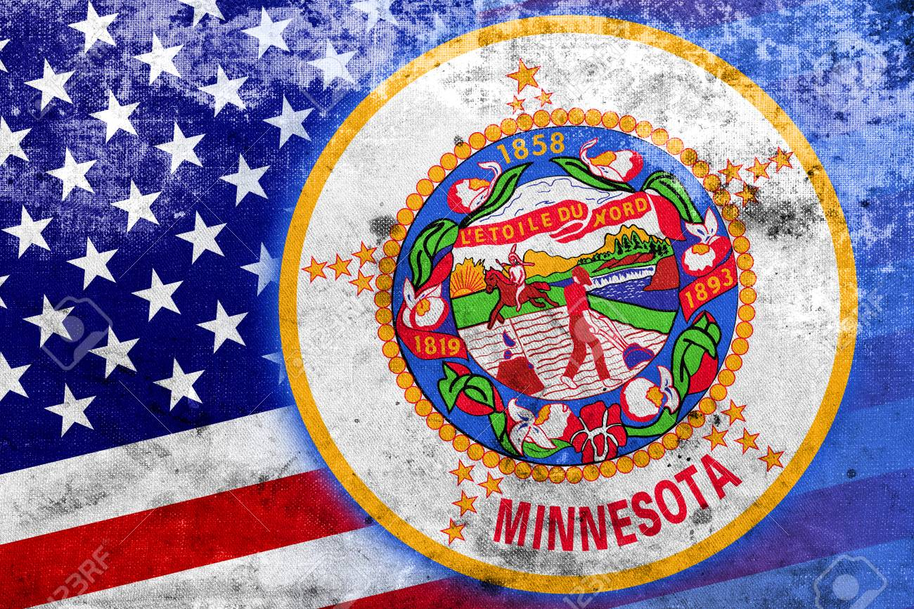 Usa And Minnesota State Flag With A Vintage And Old Look Stock Photo