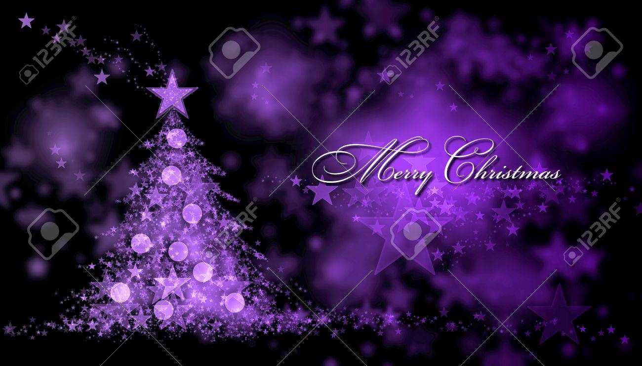 Christmas Graphics Background.Merry Christmas Purple Background With A Christmas Tree And