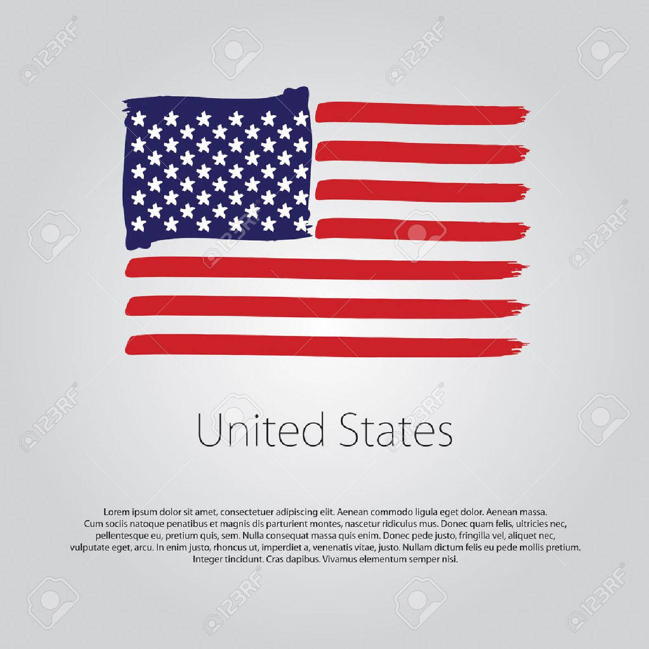 Bandera De Estados Unidos Con Líneas De Colores Dibujados A Mano En ...