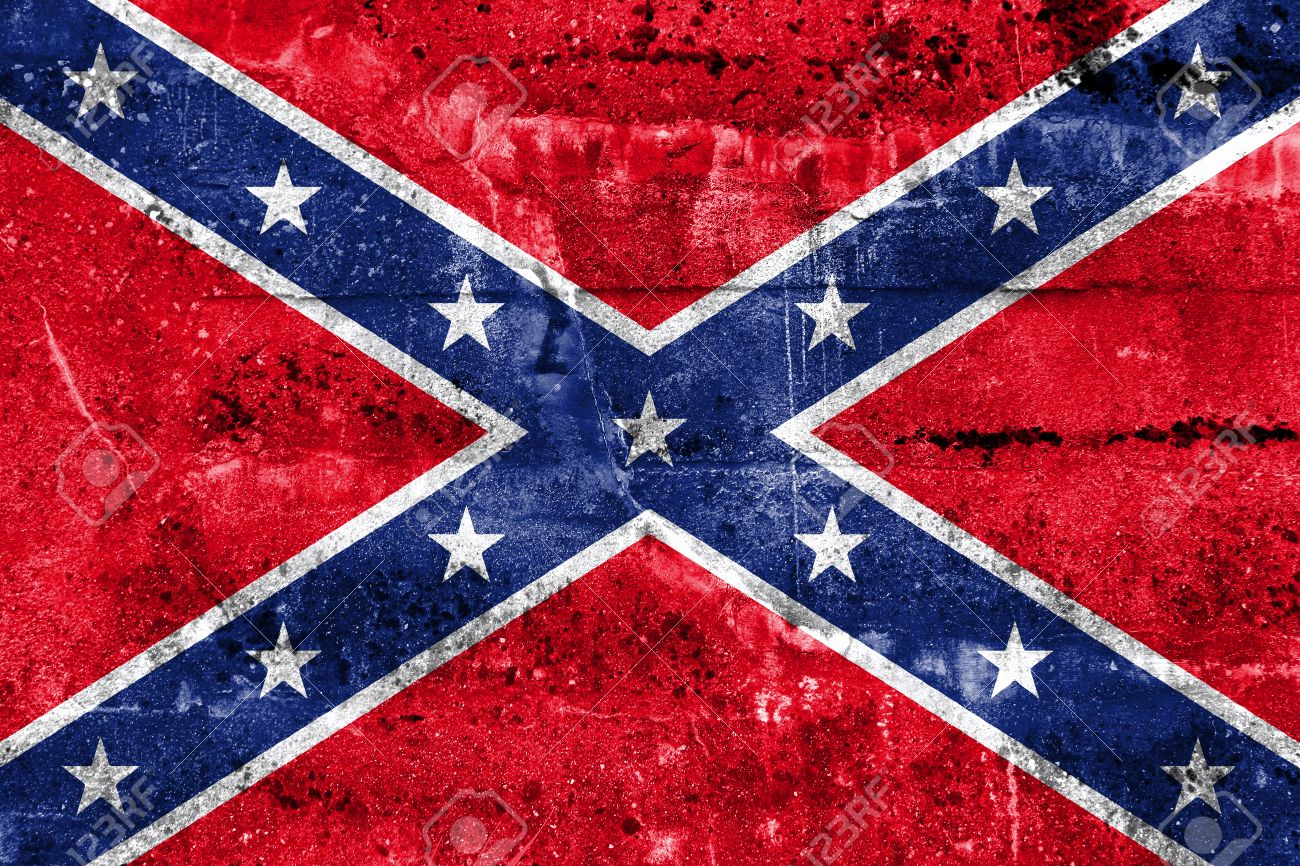 confederate flag painted on dirty wall vintage and old look stock