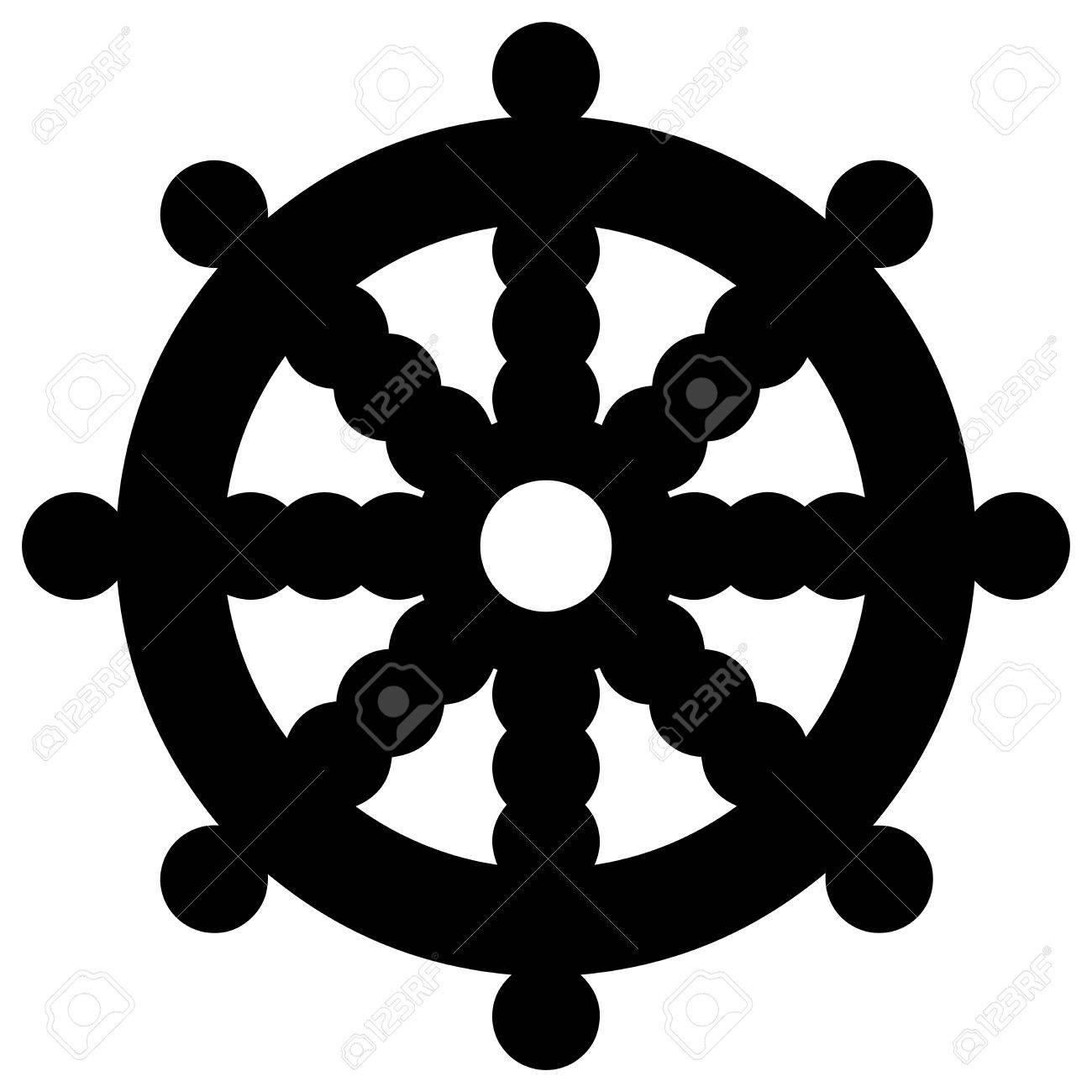 Religiose Zeichen Buddhismus Dharmacakra Vektor Format