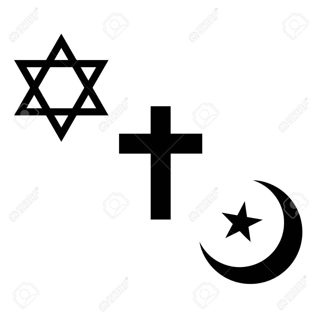 Religious signs christian jewish and muslim symbols vector christian jewish and muslim symbols vector format stock vector biocorpaavc Choice Image