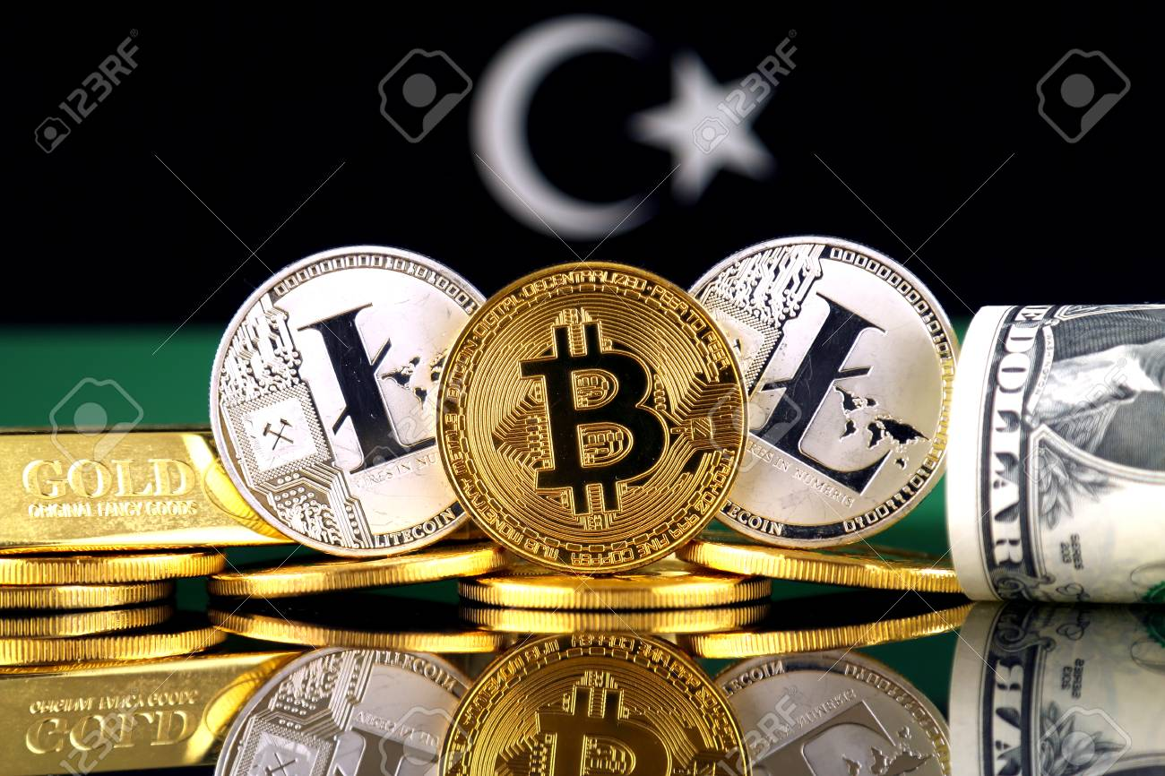 Physical version of bitcoin litecoin gold us dollar and libya physical version of bitcoin litecoin gold us dollar and libya flag conceptual ccuart Choice Image