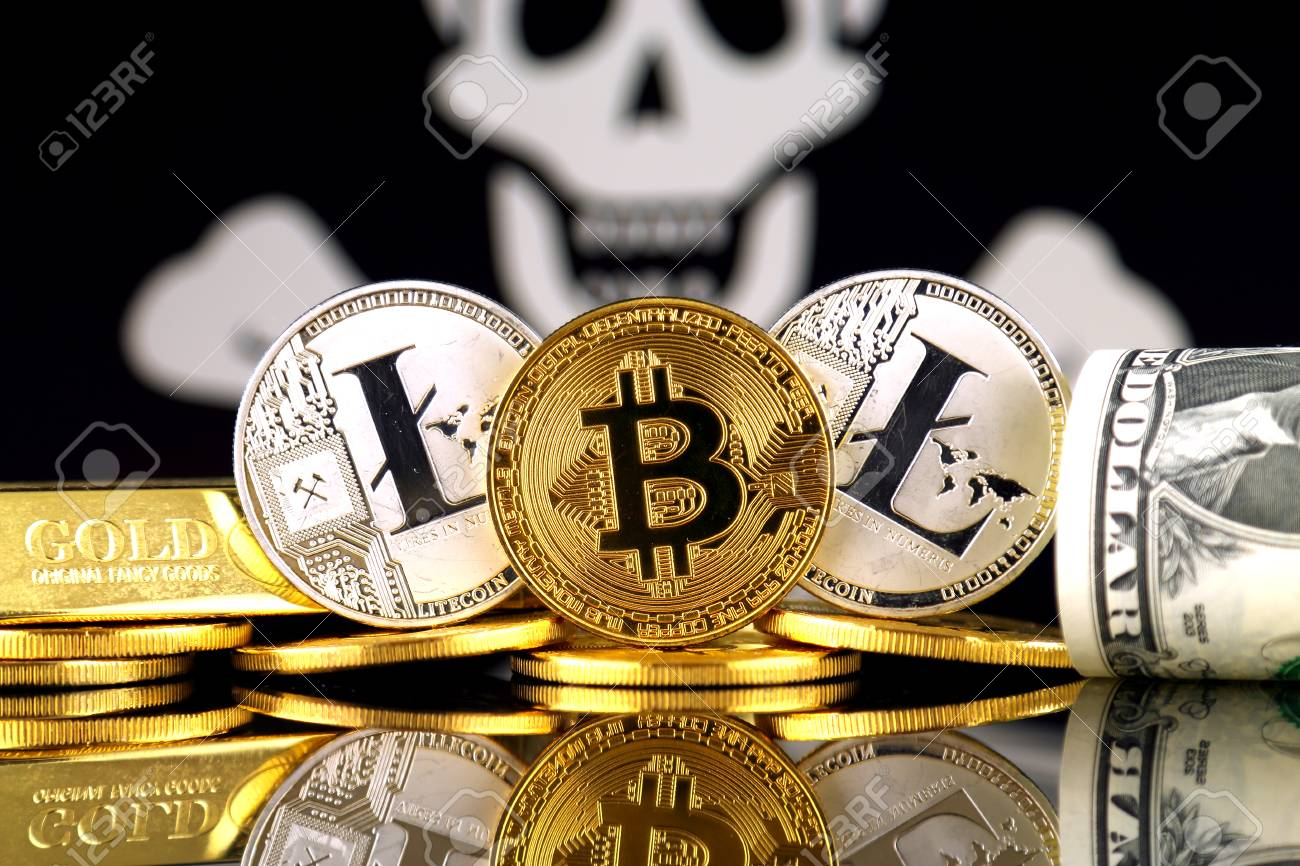 Physical version of Bitcoin, Litecoin, gold, US Dollar and Pirate
