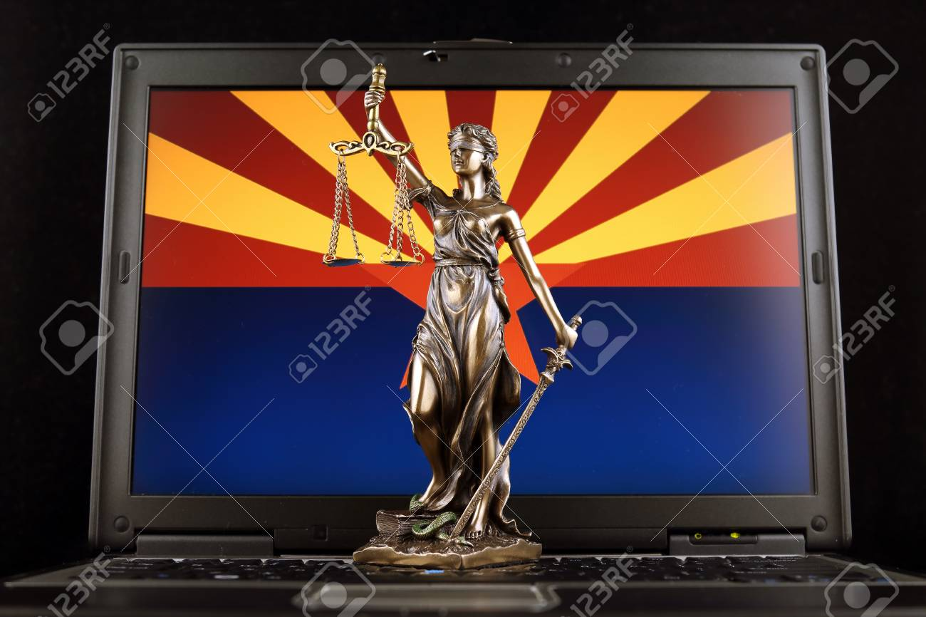 Symbol Of Law And Justice With Arizona State Flag On Laptop Stock