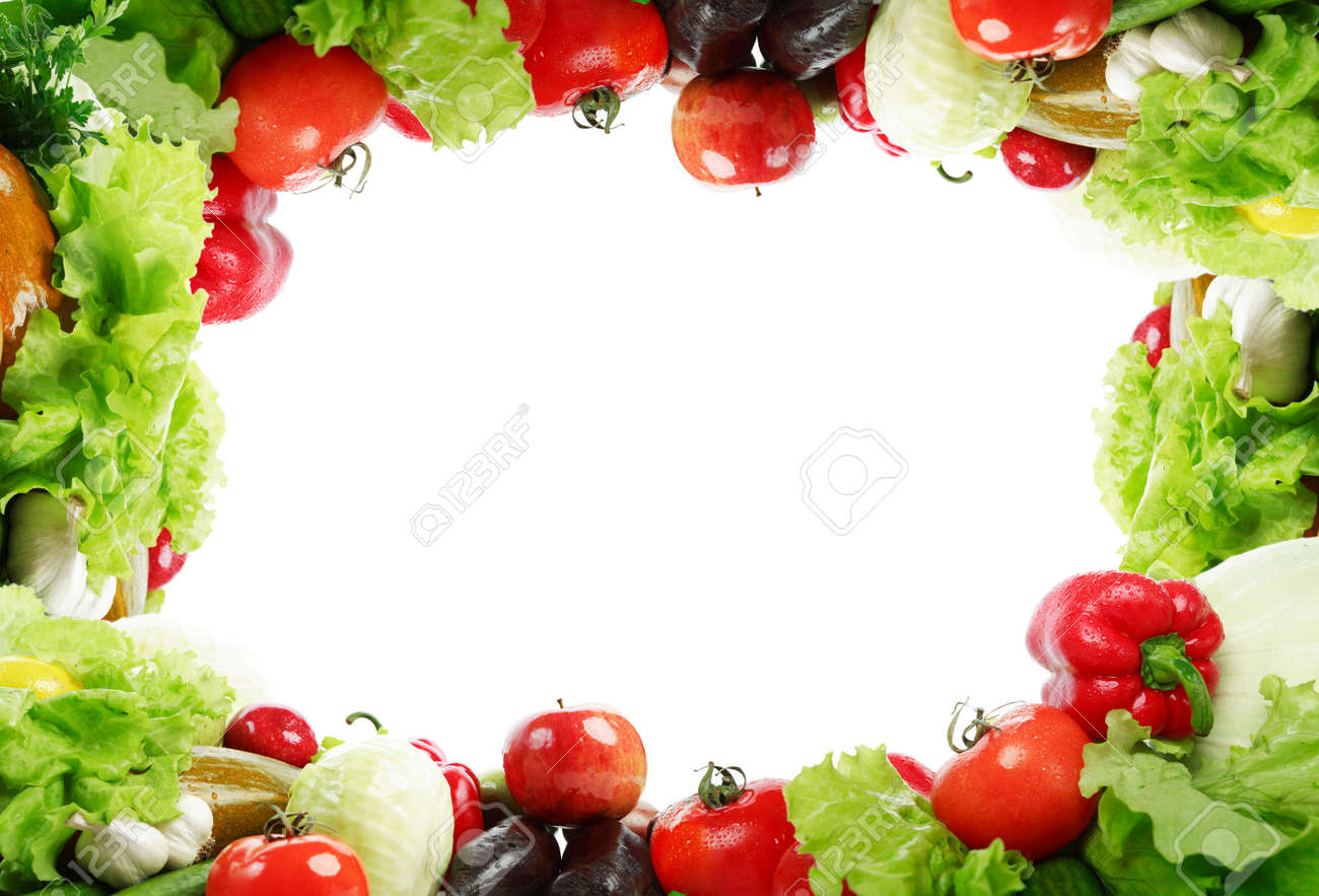 Frame: fresh Vegetables, Fruits and other foodstuffs. Shot in a studio. Stock Photo - 2591722