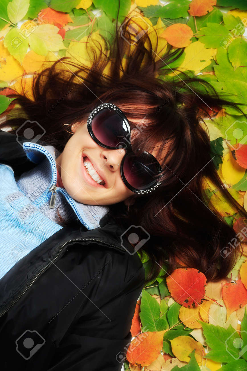 Portrait of a styled professional model. Theme: autumn, education Stock Photo - 3722990