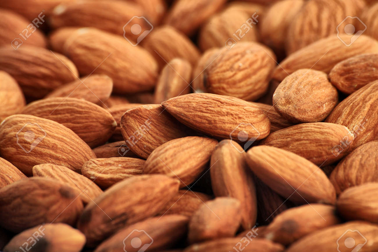 Natural Form Food: Almonds Background Stock Photo, Picture And ...