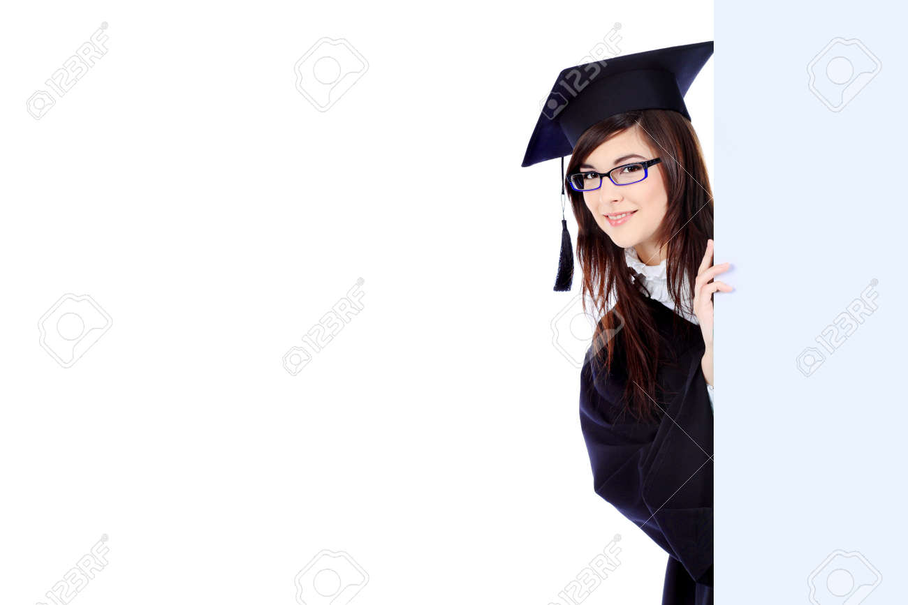 Educational theme: graduating student girl in an academic gown holding a billboard. Isolated over white background. Stock Photo - 6798981