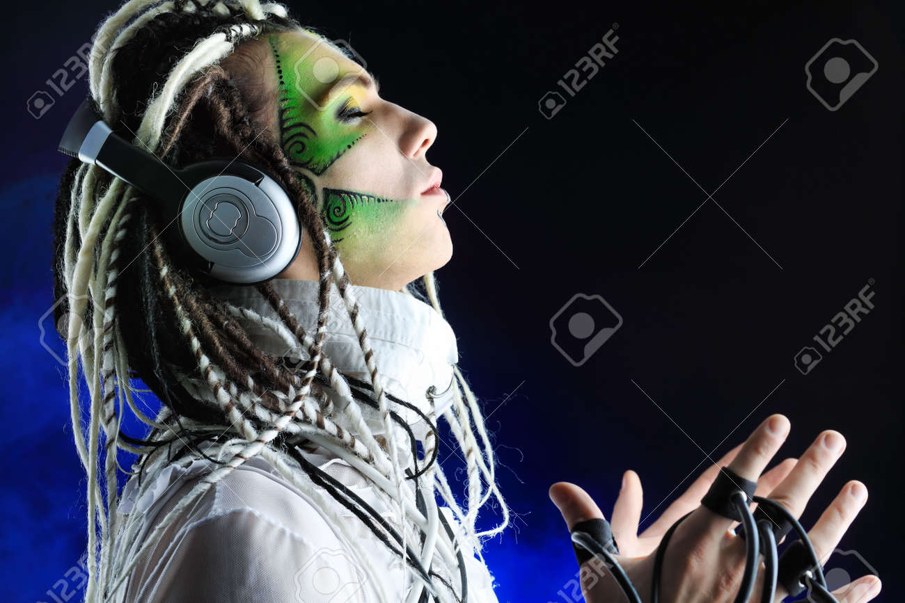 Shot of a futuristic young man with wires. Stock Photo - 6799058