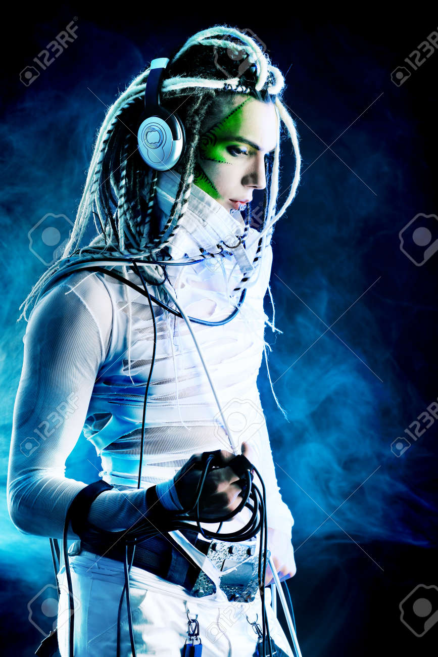 Shot of a futuristic young man with wires. Stock Photo - 6939582