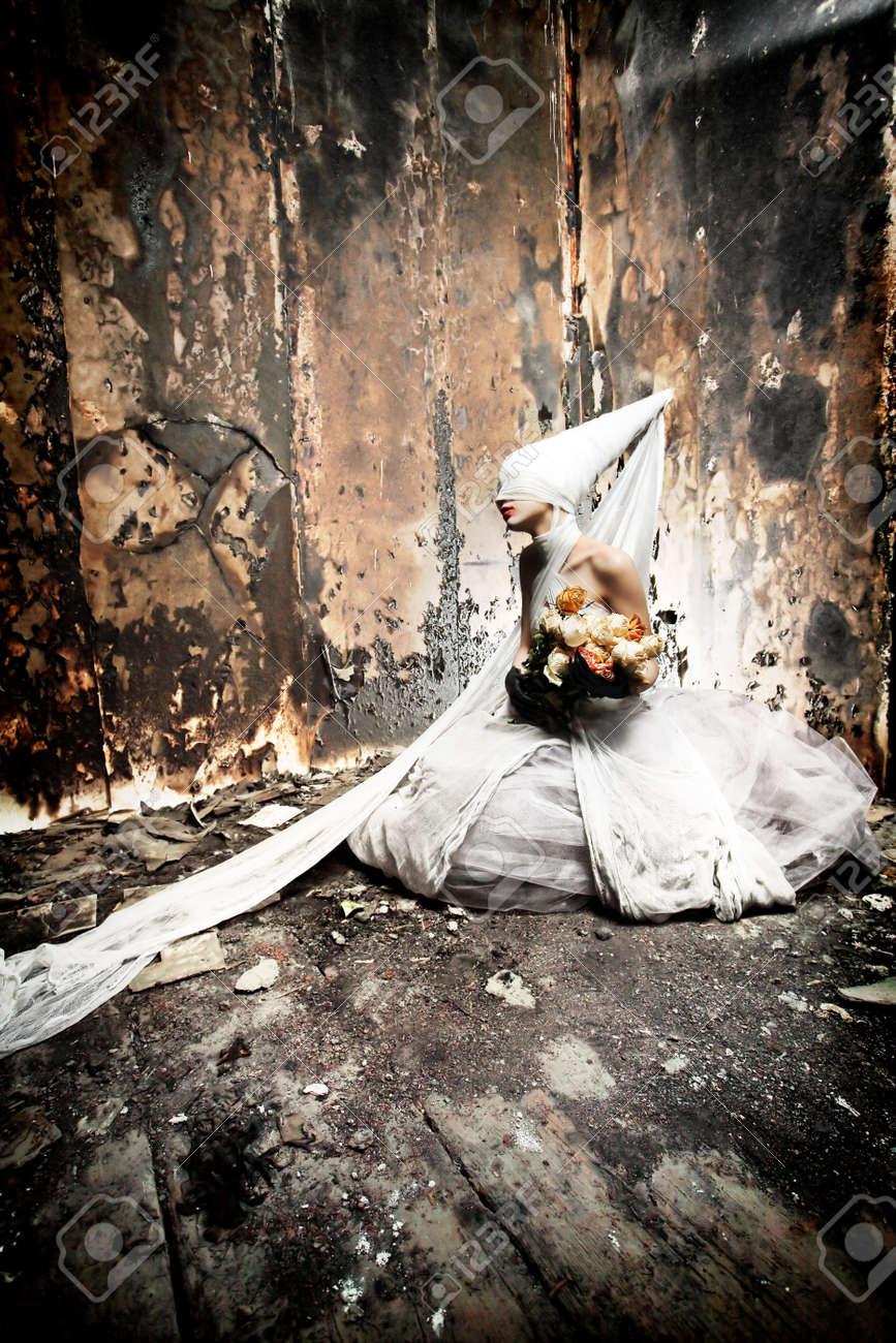 Shot of a twilight girl in white dress. Halloween, horror. Stock Photo - 7434426
