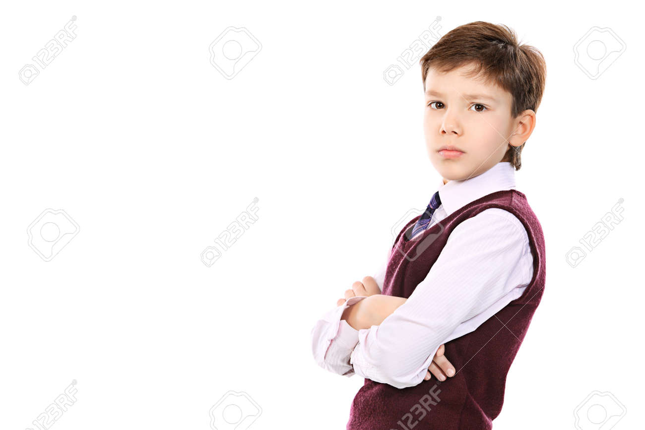 Educational theme: portrait of a schoolboy. Isolated over white background. Stock Photo - 8835223