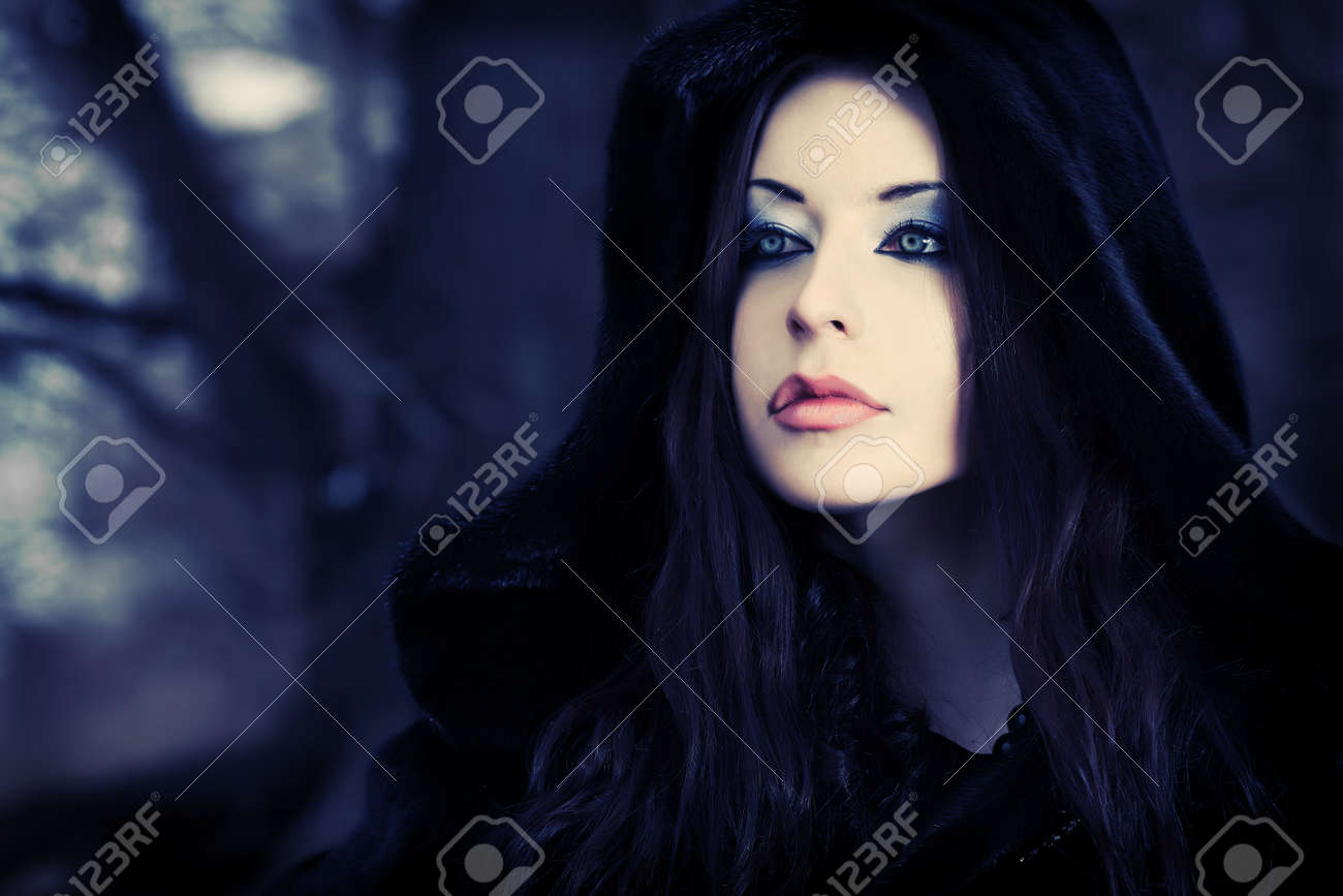 Shot of a gothic woman in a winter park. Fashion. Stock Photo - 9296861