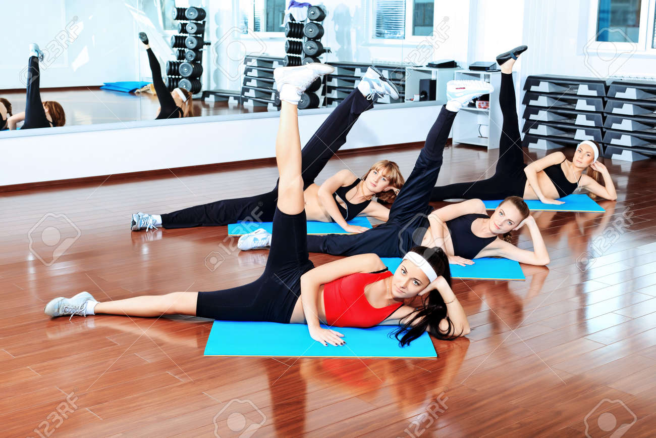 Group of young women in the gym centre. Stock Photo - 9524403