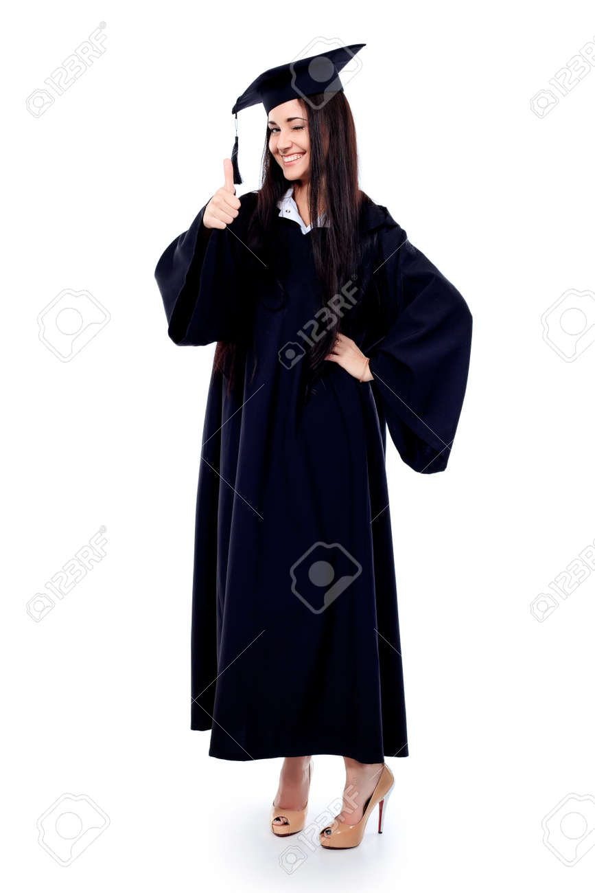 Educational Theme: Graduating Student Girl In An Academic Gown ...
