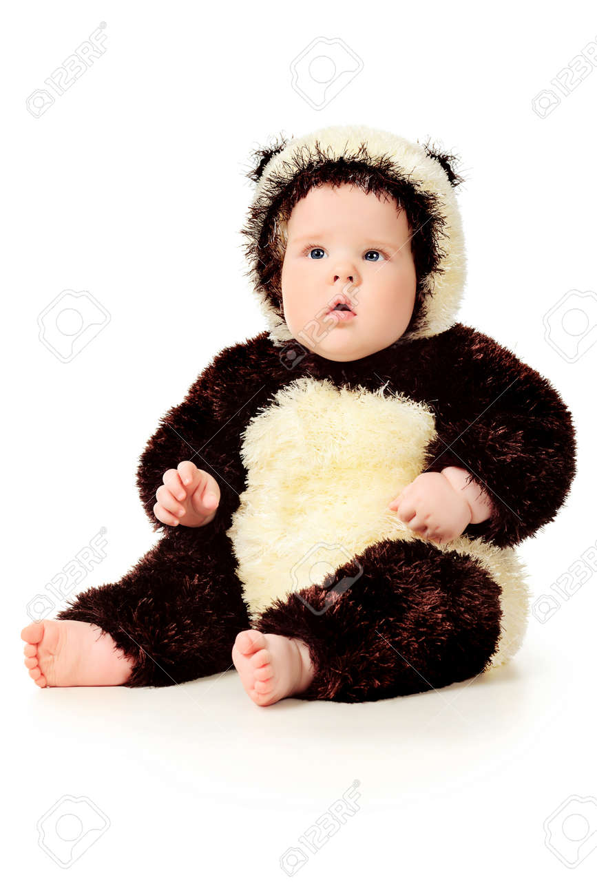 Beautiful baby in panda costume. Isolated over white. Stock Photo - 9785032  sc 1 st  123RF.com & Beautiful Baby In Panda Costume. Isolated Over White. Stock Photo ...