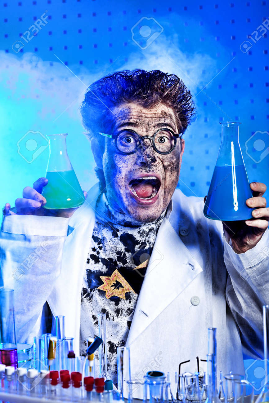 Medical theme: funny crazy scientist is working in a laboratory. Stock Photo - 10348823
